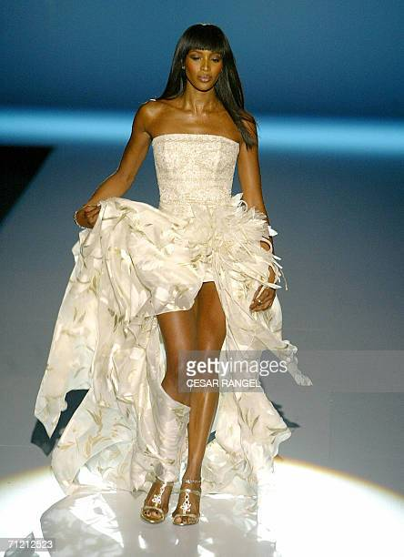British supermodel Naomi Campbell wears a creation by Spanish designer Patricia Avendano during the Barcelona Fashion week Wedding Dresses show in...