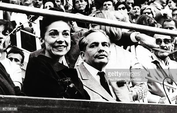 Barcelona Spain Circa 1965 Ballet Dancer Dame Margot Fonteyn and her husband Panamanian Ambassador Dr Roberto Arias watching a BullFight