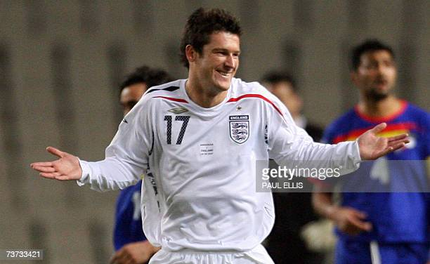 England's David Nugent celebrates scoring against Andorra during their Euro 2008 qualifying football match at the Olympic Stadium in Barcelona,...