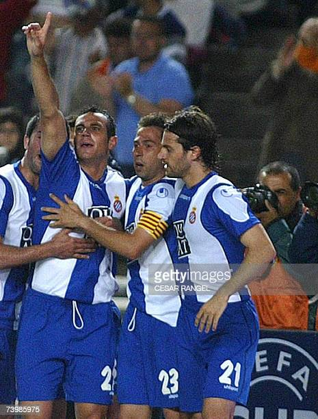 Espanyol's Moises Hurtado celebrates after scoring against Werder Bremen with Raul Tamudo and Daniel Jarque during the UEFA Cup semi-finals first leg...