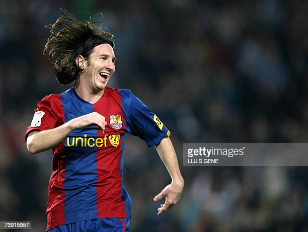 FC Barcelona's Argentinian Leo Messi celebrates after scoring the second goal against Getafe during their Spanish King's Cup football match 18 April...