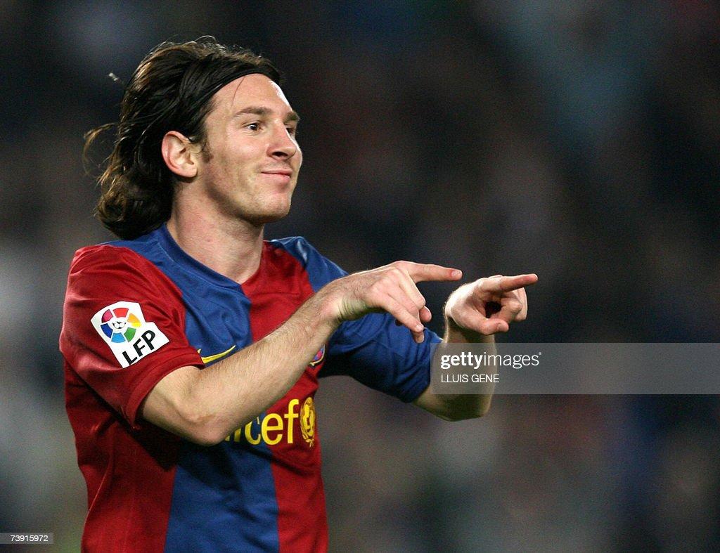 FC Barcelona's Argentinian Leo Messi cel... : Foto di attualità