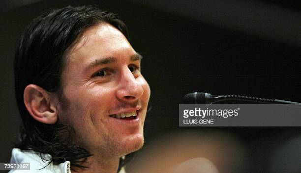 FC Barcelona's Argentinian Leo Messi smiles during a press conference at Camp Nou stadium 19 April 2007 in Barcelona Messi scored yesterday against...
