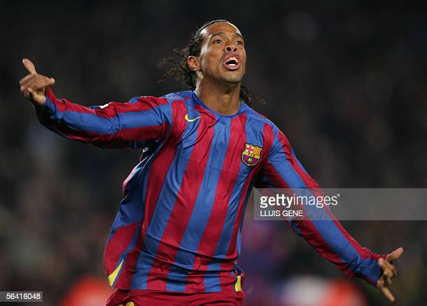 FC Barcelona's Brazilian Ronaldinho celebrates after scoring the second goal against Sevilla CF during their Spanish League football match at the...