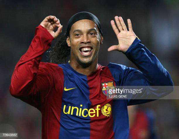 FC Barcelona's Brazilian Ronaldinho celebrates the first goal against Villarreal CF during their Spanish League football match at Camp Nou stadium in...