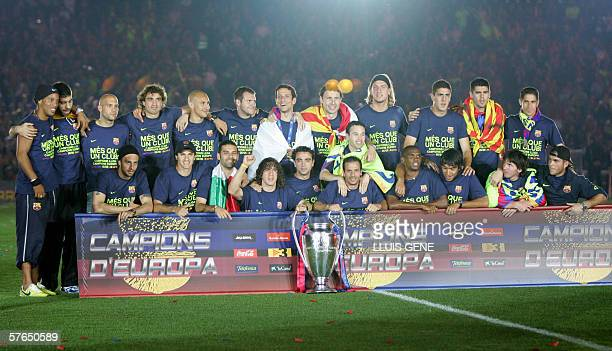 FC Barcelona's players celebrate winning the UEFA Champions League at Camp Nou in Barcelona 18 May 2006 FC Barcelona won the UEFA Champions League...