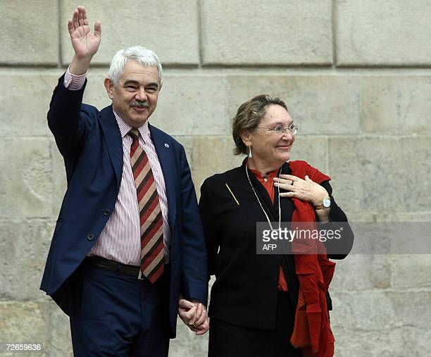 Former President Pasqual Maragall leaves the Catalan regional parliament with wife Diana Garrigosa after taking part in the handover ceremony in...