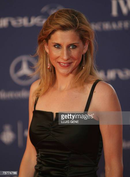 Former tennis champion Monica Seles arrives for the gala evening at the Laureus Sports awards taking place in the Palau Sant Jordi in Barcelona, 02...