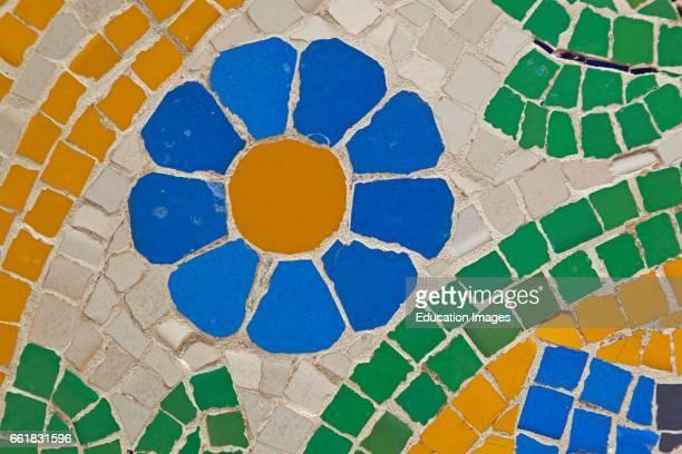 Barcelona Spain Mosaic work on facade of Palau de la MÏsica Catalana Modernist building by LluÕs Domnech i Montaner Palace of Catalan Music