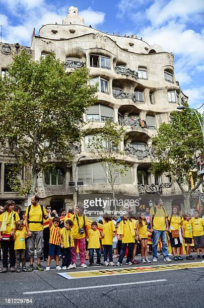 CONTENT] Barcelona Spain on September 11th 2013 Via Catalana also known as the Catalan Way towards Independence was a 480kilometre human chain in...