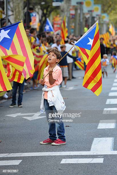 Barcelona, Spain, on September 11th 2013. The Catalan Way , also known as the Catalan Way towards Independence , was a 480-kilometre human chain in...