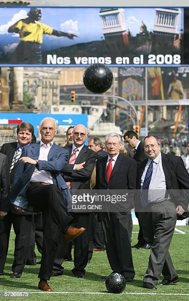 6c6b6faf4 President of Germany's World Cup organising committee Franz Beckenbauer  kicks a ball at Planet Futbol 19