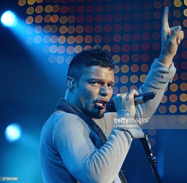 Puerto Rican singer Ricky Martin performs during the first one of four concerts in Spain at the Olympic pavilion of Badalona near Barcelona 09 May...