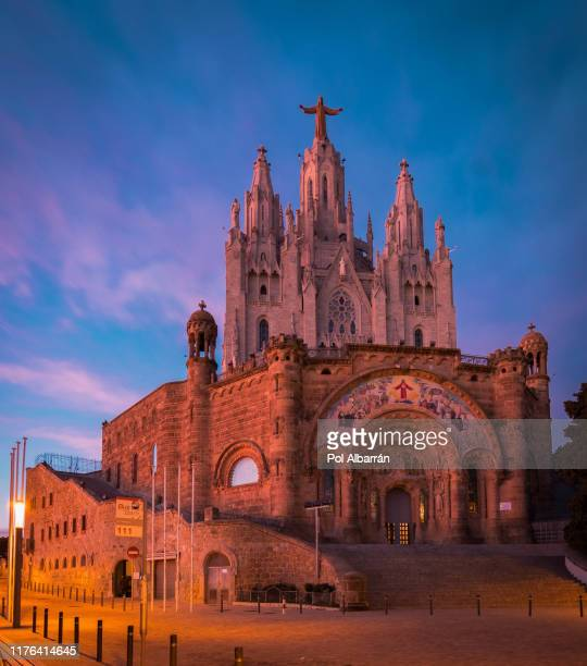 barcelona, spain. tibidabo cathedral. temple of the sacred heart of jesus at mount tibidabo. - monument stock pictures, royalty-free photos & images