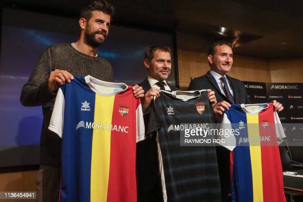 Barcelona Spanish defender and Kosmos investment company president Gerard Pique , director general of MoraBanc financial group Lluis Alsina and...