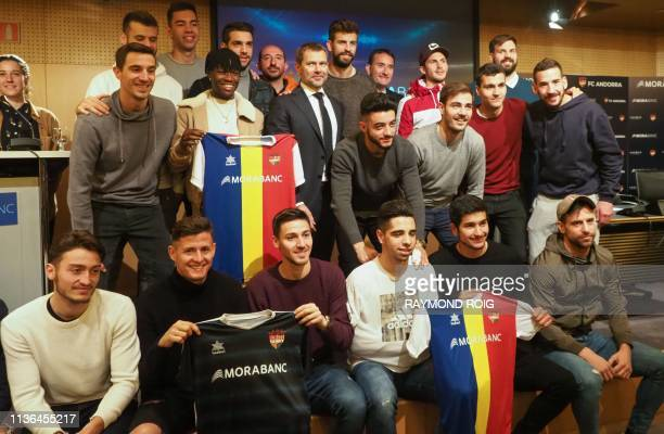 Barcelona Spanish defender and Kosmos investment company president Gerard Pique , director general of MoraBanc financial group Lluis Alsina , Kosmos...