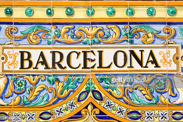 barcelona spanish tiles - spanish culture stock photos and pictures