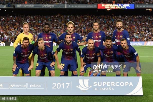 Barcelona squad Barcelona's German goalkeeper MarcAndre Ter Stegen Barcelona's French defender Samuel Umtiti Barcelona's Croatian midfielder Ivan...