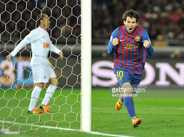 Barcelona striker Lionel Messi celebrates his goal against Santos during their finals football match of the Club World Cup in Yokohama on December 18...