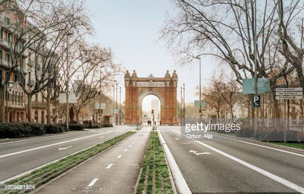 barcelona sunrise at the street - catalonia stock pictures, royalty-free photos & images
