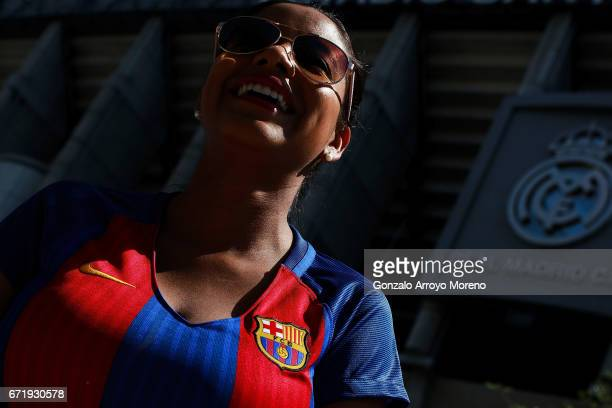 Barcelona supporter is seen prior to the La Liga match between Real Madrid CF and FC Barcelona at Estadio Bernabeu on April 23 2017 in Madrid Spain
