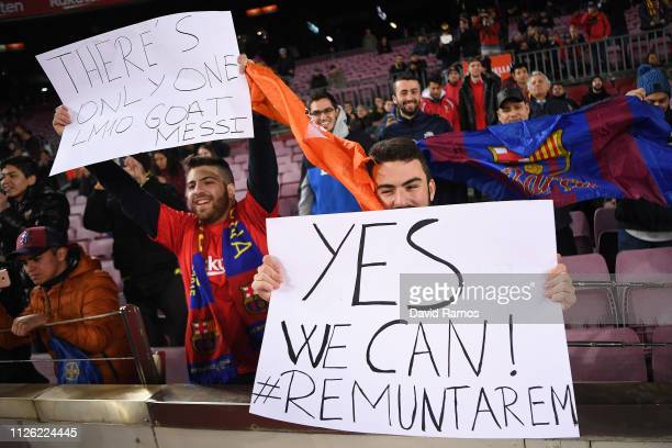 Barcelona supporters ahead of the Copa del Rey Quarter Final second leg match between FC Barcelona and Sevilla FC at Nou Camp on January 30 2019 in...