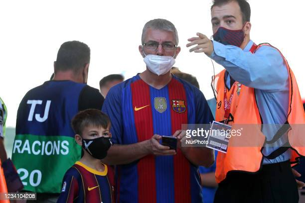 Barcelona supporters arriving at the stadium on the occasion of the friendly match between FC Barcelona and Club Gimnastic de Tarragona, played at...