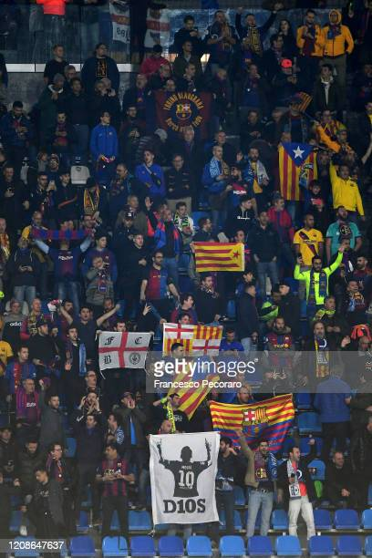 Barcelona supporters cheer before the UEFA Champions League round of 16 first leg match between SSC Napoli and FC Barcelona at Stadio San Paolo on...