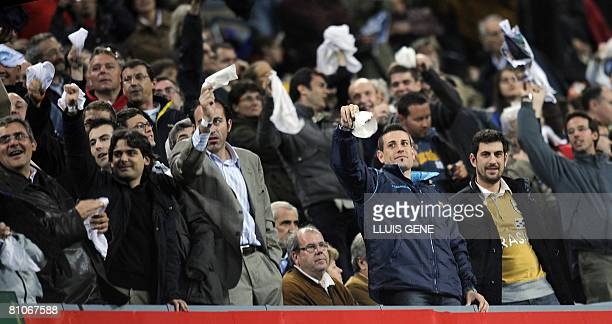 Barcelona supporters waving handkerchieves in protest against Barcelona president Joan Laporta after Barca's Spanish League football match against...