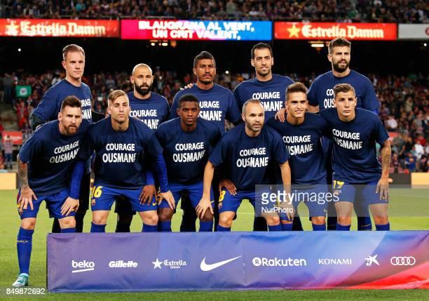 FC Barcelona team before the La Liga match between FC Barcelona v SC Eibar in Barcelona on September 19 2017
