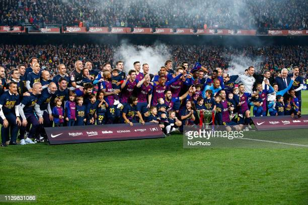 FC Barcelona team celebrate the victory at the LaLiga Championship during the match FC Barcelona against Levante UD for the round 35 of La Liga...