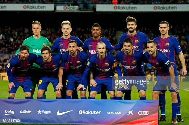 FC Barcelona team during the La Liga match between FC Barcelona v Real Club Deportivo de La Coruna in Barcelona on December 17 2017