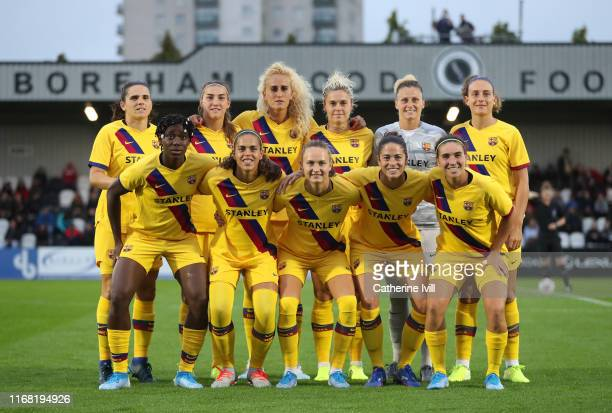 Barcelona team group ahead of the Pre Season friendly between Arsenal Women and Barcelona Femini at Meadow Park on August 14 2019 in Borehamwood...