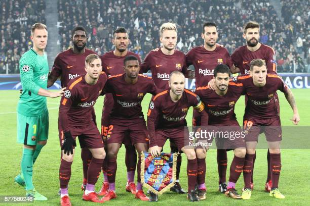 Barcelona team poses in order to be photographed before the Uefa Champions League group stage football match n5 JUVENTUS BARCELONA on at the Allianz...