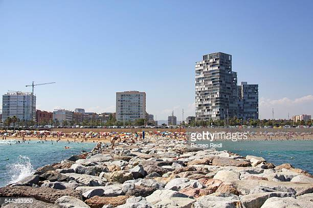 Barcelona - the city viewed from the Platja de Llevant beach
