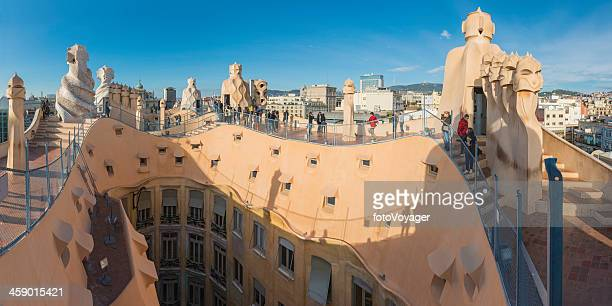 Barcelona tourists on Gaudi's La Pedrera Casa Mila Spain