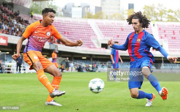 Barcelona U19 v Manchester City U19 UEFA Youth League Group C Mini Estadi Manchester City's Demeaco Duhaney in action