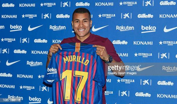 Barcelona unveil new signing Jeison Murillo during a press at Nou Camp on December 27, 2018 in Barcelona, Spain.