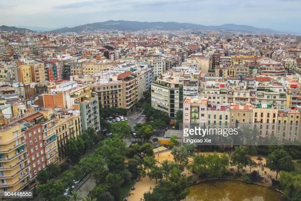 Barcelona urban skyline seen from Sagrada Familia, Catalonia, Spain