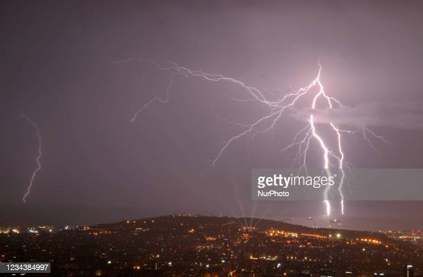 Barcelona was shaken by a spectacular electrical storm, which in some places reached 50 liters per square meter, on 01st August 2021. Photo: Joan...