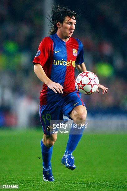 Barcelona winger Lionel Messi moves the ball during a UEFA Champions League round of 16 first leg match against Liverpool at the Camp Nou Stadium on...