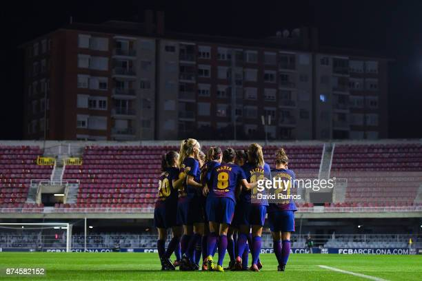 Barcelona women players celebrate after Alexia Putellas of FC Barcelona scored the opening goal during the UEFA Womens Champions League Round of 16...