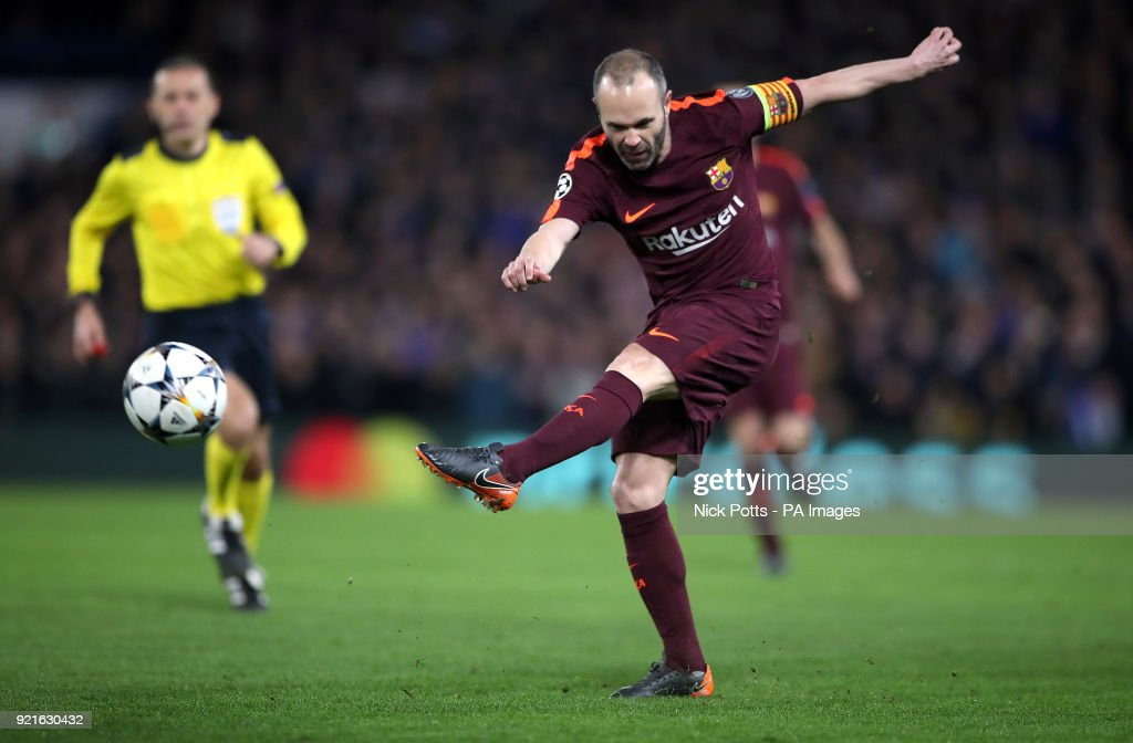 Barcelona's Andres Iniesta during the UEFA Champions League round of sixteen, first leg match at Stamford Bridge, London.