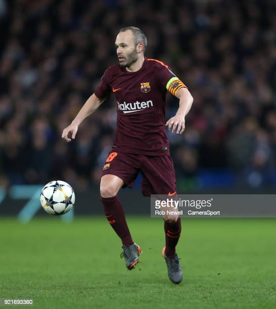 Barcelona's Andres Iniesta during the UEFA Champions League Round of 16 First Leg match between Chelsea FC and FC Barcelona at Stamford Bridge on...