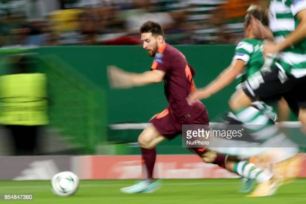 Barcelona's Argentine forward Lionel Messi in action during the UEFA Champions League football match Sporting vs Barcelona at the Alvalade stadium in...