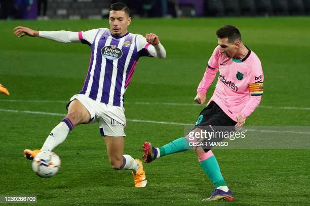 Barcelona's Argentine forward Lionel Messi scores a goal during the Spanish league football match between Real Valladolid FC and FC Barcelona at the...