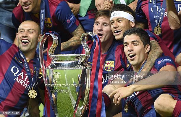 Barcelona's Argentinian defender Javier Mascherano Barcelona's Argentinian forward Lionel Messi Barcelona's Brazilian forward Neymar da Silva Santos...