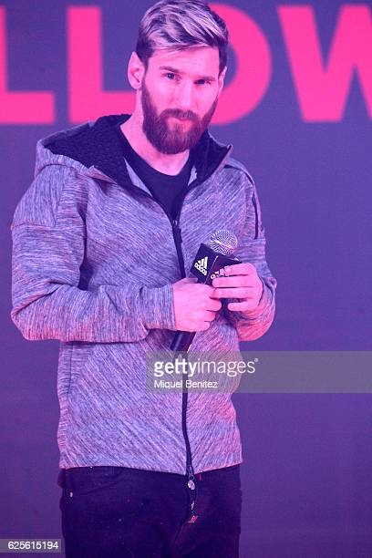 Barcelona's Argentinian forward Lionel 'Leo' Messi attends the presentation of the new Messi 16 boots by Adidas on November 24 2016 in Barcelona Spain