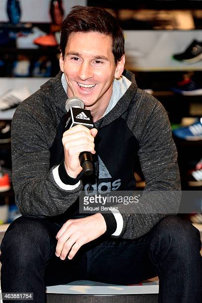 Barcelona's Argentinian forward Lionel 'Leo' Messi inaugurates the adidas store on February 19 2015 in Barcelona Spain