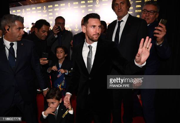 Barcelona's Argentinian forward Lionel Messi arrives to attend the Ballon d'Or France Football 2019 ceremony at the Chatelet Theatre in Paris on...